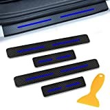 For JEEP Cherokee Compass Grand Voyager Patriot Renegade Car Door Sill Protector Door Entry Guard Welcome Pedal Threshold Reflective 4D Carbon Fiber Stickers Anti-Scratch