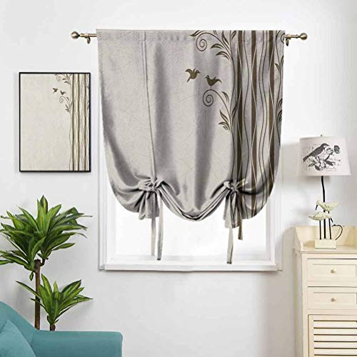 Dasnh Short Polyester Roman Curtain Abstract Wavy Swirled Tree Branches W27 x L64 High Blackout for Kitchen
