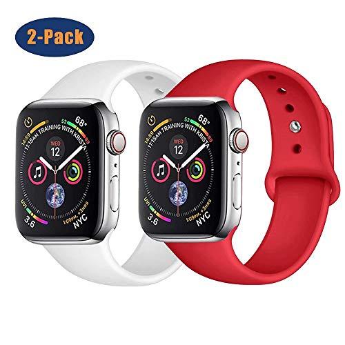 SSEIHI Correa Compatible con Dispositivos Apple Watch 38mm 40mm 42mm 44mm, Correa de Silicona DeportivaSuave de Repuesto Compatible Iwatch Series 5/4/3/2/1-2pack