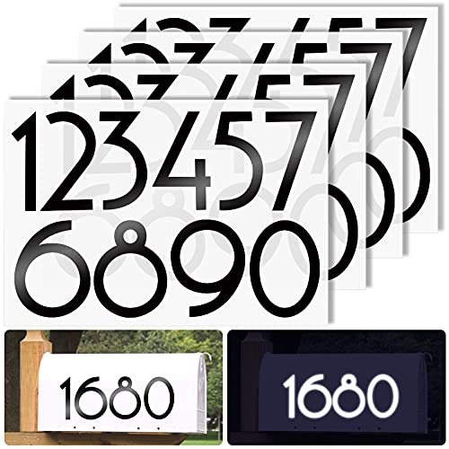 Reflective Mailbox Numbers Sticker Decal Die Cut Classic Style Vinyl Waterproof Number Self Adhesive 4 Sets 0-9 Stickers for Outside Address Numbers, Outside Fade-Resistant, Signs, Cars, Home,Office 2.7 inch (Black)
