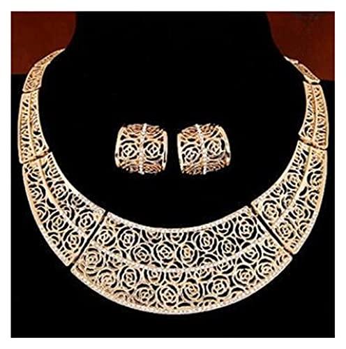 ZCPCS Juegos de joyería Mujeres Indian African Jewelry Set Increíble Precio Joyería de Boda para Novias Dubai Gold Jewelry Sets (Metal Color : F579)
