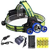 Rechargeable Headlamp, 6000 High Lumens, The Brightest Headlamp, 18650 Battery Charging LED Working Headlamp Flashlight Waterproof Flashlight 4 Modes Headlamp for Adult Camping, Fishing and Hiking