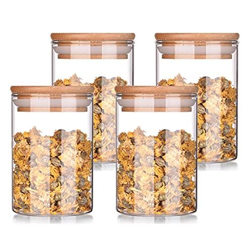 LTCTL Tarjetas De Vidrio con Tapa De Bambú Los Botes Herméticos Establecen Un Recipiente De Almacenamiento De Uod Recipientes (Color : 300ml x4)