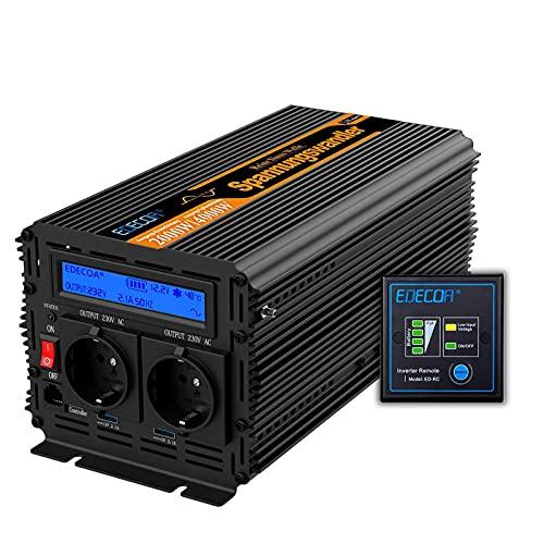 EDECOA Wechselrichter 2000w Reiner Sinus Spannungswandler 12v 230v LCD-Bildschirm 2X USB und Fernbedienung Spannungswandler 2000w und kurzfristige Spitze 4000w Power Inverter Pure sine Wave