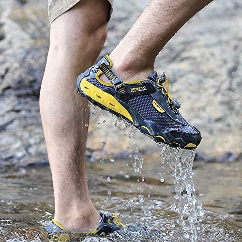 Mens Water Shoes Hiking Aqua Shoes Quick Dry Breathable Wading Trekking Sneakers (12, 1605 Gray)