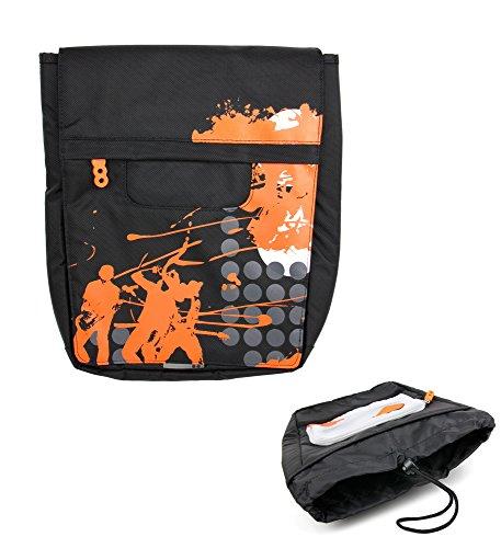 DURAGADGET Bolso para Excelvan BT-MT10 | BT-1077 - Negro con Print En Color Naranja - Irá A La Última con Su Diseño Contemporáneo