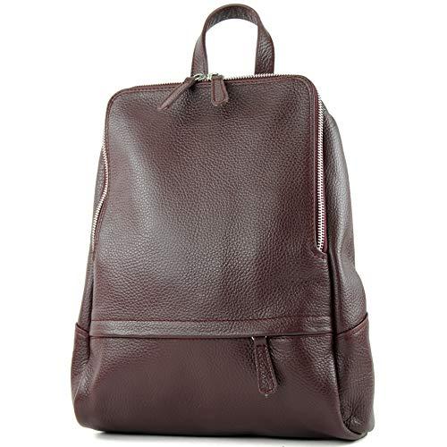 modamoda de - T138 - ital Damen Rucksacktasche aus Leder, Farbe:Bordeaux2