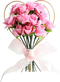 PRETYZOOM Rose Cake Topper Flower Bouquet Floral Cupcake Picks Heart Party Supplies for Girlfriend Wedding Mothers Day