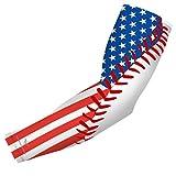 bucwild USA Flag Baseball Stitch Sports Compression Arm Sleeve - Youth & Adult Sizes - Baseball…