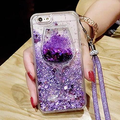 DEIOKL Funda para teléfono 3D Glitter Quicksand para Samsung Galaxy A10S A20E A30S A50 A70 A11 A21S A31 A51 A71 A81 A91 A6 A8 A7 A9 2018, con Correa Morada, para Galaxy A8 Plus 2018