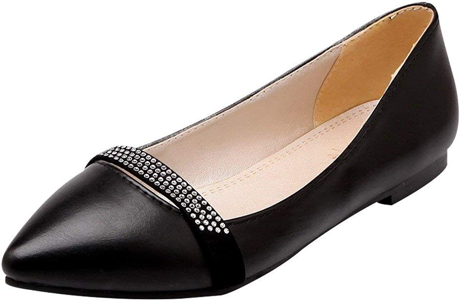 Lelehwhge Women's Casual Pointed Toe Sequins Flat Pumps shoes Black 5 M US