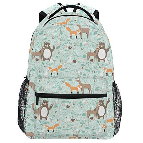 Oarencol Mochila de animales del bosque, ciervo, zorro, conejo, erizo, libro, mochila de viaje, senderismo, camping, escuela, portátil