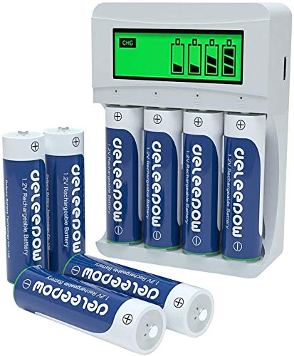 Deleepow AA Rechargeable Batteries Ni-MH 3300mAh 1200 Cycles (8Pcs) with LCD Smart Battery Charger for Rechargeable AA AAA Batteries