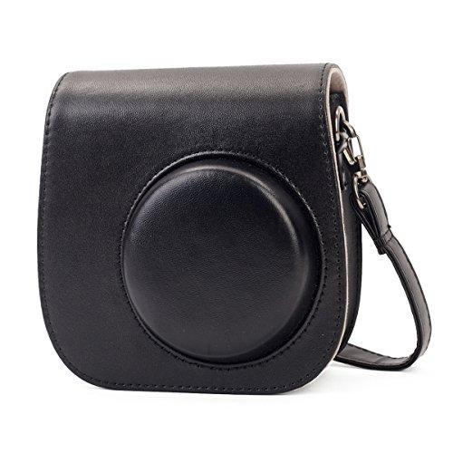 Leebotree Tasche Kompatibel mit Instax Mini 9 / Mini 8 8+ Sofortbildkamera aus Weichem Kunstleder mit Schulterriemen & Tasche (Schwarz)