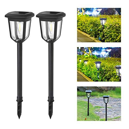 Aigostar Lámpara solar - Lámpara LED para exterior, resistente al agua, luces solares led exterior jardín, IP44. Recomendado para jardines o terrenos blandos donde colocarlo. 2 unidades. Negro.