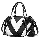 S.CHARMA-handbag 2019 - Bolso Bandolera para Mujer, Color de Costuras Negras y Blancas con Costuras de Color a Rayas