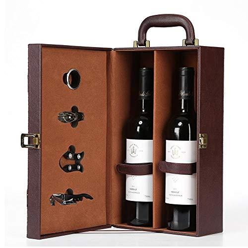 Rubyu Caja de Regalo para Vino de Piel sintética, Caja para Botellas de Vino, abrebotellas de Vino con 4 Piezas, tapón de Vino, Boquilla para Vino y abridor de Vino, Set de somelio para Viaje
