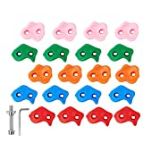 Newtion 20 Multi- Colored Rock Climbing Holds for Kids and Adults, Large Rock Wall Grips for Indoor and Outdoor Play Set - DIY Rock Climbing Wall with Secure Mounting Hardware for Playround