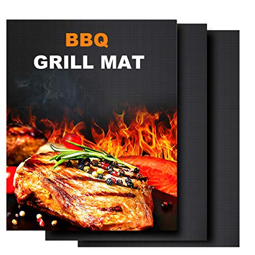 Owine BBQ Grill Mat Non Stick - Durable Reusable and Easy to Clean Grill Accessories, Grilling Mats Best for Outdoor Grill, Gas Grill, Electric Grill, Charcoal BBQ - 15.75 x 13 Inch (Set of 3)