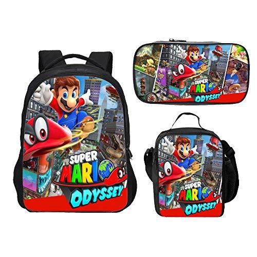 Super Mario Rucksack für Jungen, Teen Girls Rucksack Kinder Super Mario Bros Schultaschen Lunch Bags Pencil Case 3-teiliges Set
