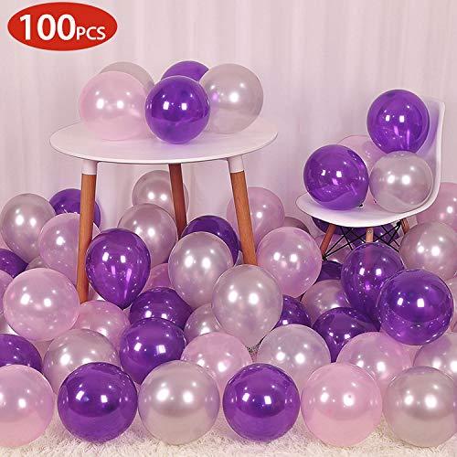 GREMAG Luftballons Geburtstag Mädchen,100PC Luftballons Lila Silber Rosa,Happy Birthday für Geburtstag , Party & Deko Luftballon für Kindergeburtstag & Party Deko