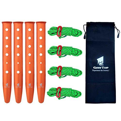 GEERTOP 31cm Aluminium Zeltheringen Heringe & 4 Stck a 4 Meter Leuchtend reflektierend Seil mit Verstellvorrichtung & Tasche für Sand Schnee Camping Wandern (Orange)