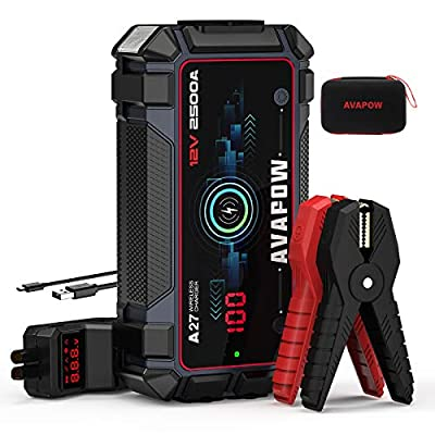 AVAPOW Car Battery Jump Starter 2500A Peak 22800mAh, Portable Auto Battery Boost Pack Jumper Box(Up to 8L Gas 8L Diesel Engine with Smart Safety Cable, Wireless and USB Fast Charging,IP65