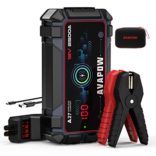 A V A P O W Car Battery Jump Starter 2500A Peak 22800mAh, Portable Auto Battery Boost Pack Jumper Box(Up to 8L Gas 8L Diesel Engine with Smart Safety Cable, Wireless and USB Fast Charging,IP65