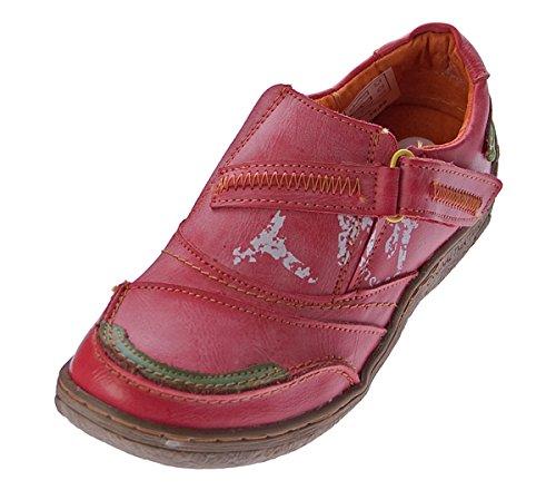 TMA Comfort Damen Leder Schuhe Turnschuhe Rot Slipper Sneakers Halbschuhe Ziernähte Gr. 37