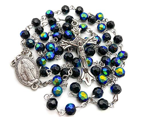 Catholic Deep Blue Rosary Crystal Beads Necklace Miraculous Medal & Crucifix by Nazareth Market Store