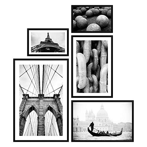 decomonkey | Poster 5er – Set schwarz-weiß Abstrakt Kunstdruck Wandbild Print Bilder Kunstposter Wandposter Posterset Eiffelturm Venedig Boot Stadt Brücke Vintage