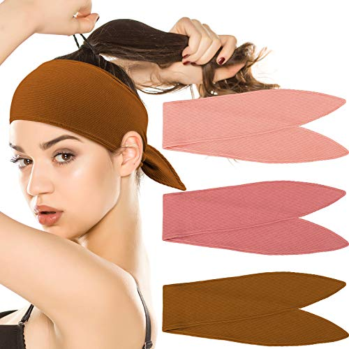 Whaline Ribbed Stretch Headbands 3 Colors Knitted Elastic Self Tie Headband Stretchy Hair Bands Twist Bow Head Wraps Sport Head Band Multifunctional Hair Accessories for Women Girl
