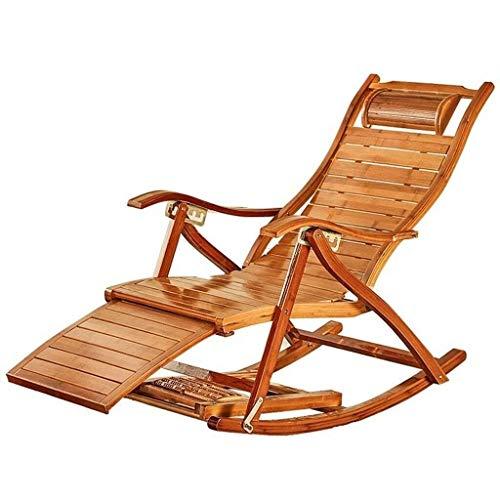 Nuokix Sillas Plegables, Sillas Plegables Mecedora Siesta Ocio casa Balcón Plegable de Oficina Individual de Madera de bambú sólido Mayor Tumbona Acampar excursión