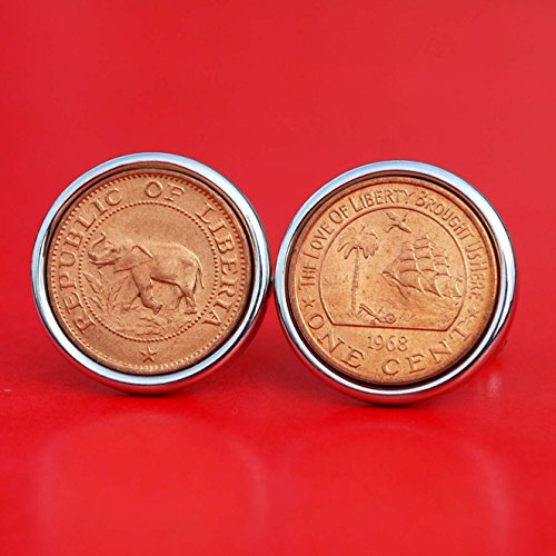 1968 Liberia One Cent BU Uncirculated Coins Silver Plated Cufflinks NEW - Wildlife Animal Elephant & Palm Tree