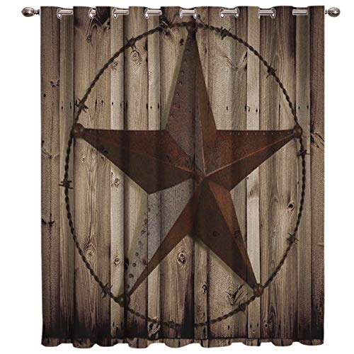 Advancey Rustic Western Country Thermal Insulated Blackout Curtains - 1 Panel, Texas Star Barn Wooden Room Darkening Window Drapes for Bedroom 52x63inch