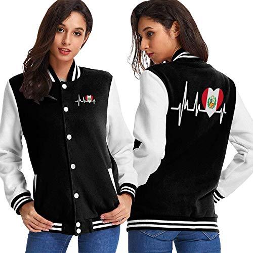 BYYKK Chaquetas Ropa Deportiva Abrigos, Peru Heartbeat Flag Women's Long Sleeve Baseball Jacket Sweater Coat
