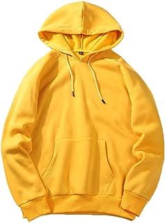 New Men's Fall Casual Solid Hip Pop Loose Fit Fleece Long Sleeve Hoodie Top Blouse
