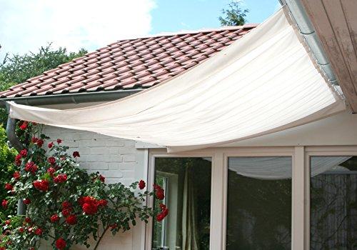 Floracord Universal Sonnensegel und Bausatz 330 x 140 cm inklusive 26 Laufhaken montagefertig, elfenbein