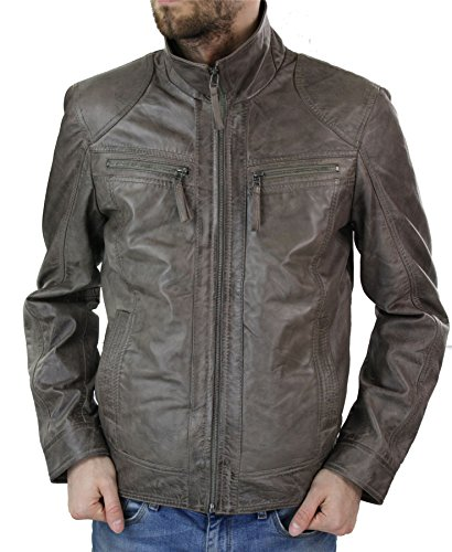 Veste vintage nouvelle cuir véritable marron coupe cintrée S-3XL homme