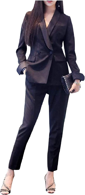 FieerWomen Premium Splicing Blazer Tenths Pants 2 Pieces Outfits Suit