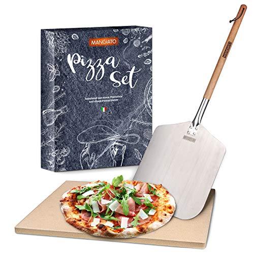 MANGIATO® Premium Pizzastein – Set mit [1,5cm] dickem Pizzastein & Pizzaschaufel aus Edelstahl – Pizza Stone aus robustem Cordierit – Langlebiger Backstein für Backofen – Pizza backen wie EIN Profi