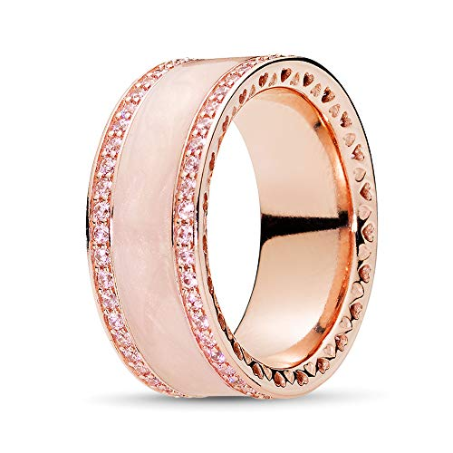 Pandora Jewelry Hearts of Pandora Cubic Zirconia Ring in Pandora Rose, Size 9