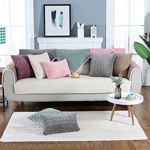 JuneJour Sofabezug Plüsch Anti-rutsch Couch Sofa Abdeckungen Moderne schlichtheit Couch abdeckungen Sofaüberwurf Decke für Ledersofa Sessel L-Form Sofa