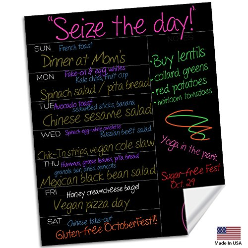 """Meal Planner ● Daily Planner ● Dry Erase Planner ● Dry Erase Sticker ● Weekly Meal Planner ● Diet Planner ● Meal Planning Calendar ● Use w/Wet Erase & Liquid Chalk Markers ● 15.5"""" x 12.5"""" Inches"""