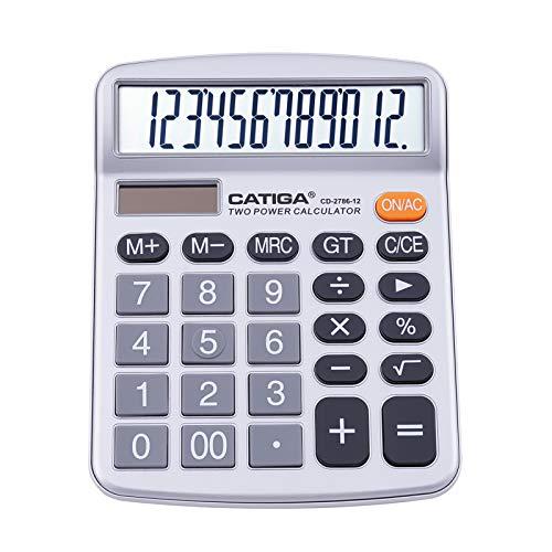 Calcolatrice da tavolo a 12 cifre con ampio display LCD e pulsante sensibile, doppia alimentazione solare e batteria, funzione standard per ufficio, casa, scuola, CD-2786 (Argento)