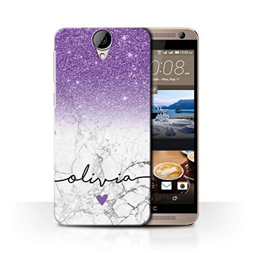 Personalisiert Hülle Für HTC One E9/E9+/Plus Handschrift Glitter Ombre Lila FunkeIn Weißer Marmor Design Transparent Ultra Dünn Klar Hart Schutz Handyhülle Case