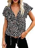 Dokotoo Womens Ladies Cute Floral Printed Chiffon Blouses V Neck Short Sleeve Flowy Shirts Summer Bohemian Tops X-Large Black