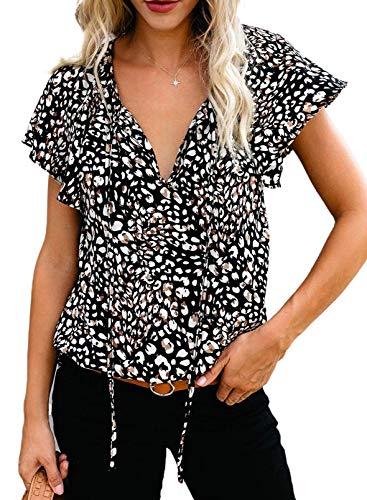 Dokotoo Womens 2021 Fashion Floral Printed V Neck Tie Top Boho Short Sleeve Plus Size Work Blouses Juniors Loose Chiffon Shirts Large Black