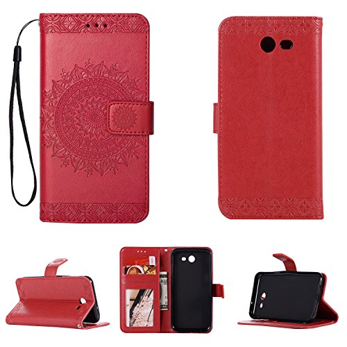 FOLICE Galaxy J5 (2017) Case, Mandala Flower Pattern [Shock Absorbent] PU Leather Kickstand Wallet Cover Durable Flip Case for Samsung Galaxy J5 (2017)(RED)