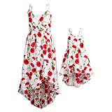 PopReal Mommy and Me Dresses Vintage Butterfly Floral Printed Spaghetti Straps V-Neck Beach Cami Dress White
